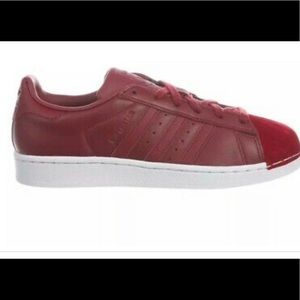 Adidas Burgundy Superstar Shell Toe Sneakers